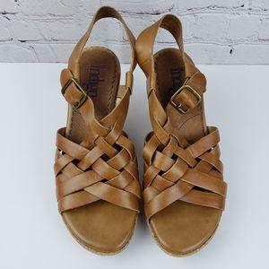 Indigo by Clarks Cork Wedge Woven Sandals 8